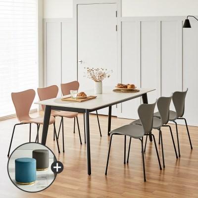 [상도가구]리즈 포세린 세라믹식탁 블랙 W1800 6인식탁의자세트