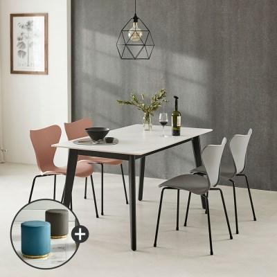 [상도가구]리즈 포세린 세라믹식탁 블랙 W1500 4인식탁의자세트