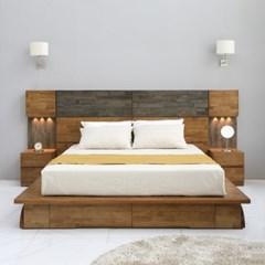 [스코나]코롤라 호텔형 LED 원목 킹 침대(협탁1개)_(602875449)