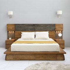 [스코나]코롤라 호텔형 LED 원목 킹 침대(협탁2개)_(602875376)