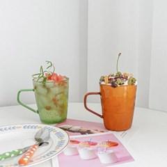 컬러 유리컵 점보 내열유리 머그컵 450ml 2color