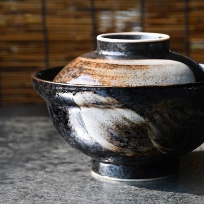 흑나미 뚜껑 돈부리 텐동그릇_(1922666)