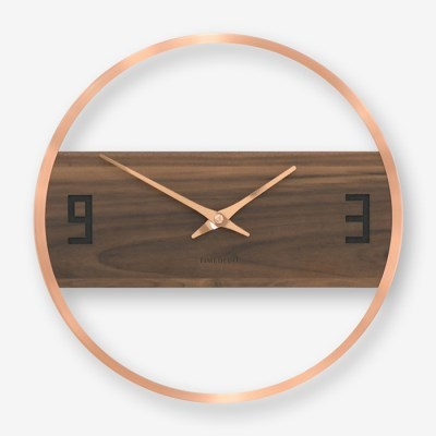 원형 가로밴드 로즈골드 벽시계