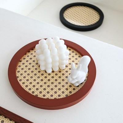 원형 라탄무늬 액자 트레이 쇼핑몰 촬영소품 2종택1