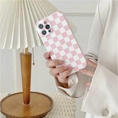 핑크 체커보드 아이폰 카메라보호 범퍼케이스