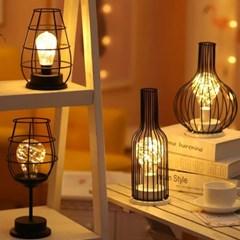 감성 철제 랜턴 LED 무드등 수면등 4type d