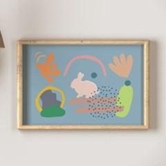 Bunny 블루래빗 B2포스터, 아이방그림액자, 감성토끼액자