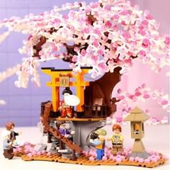 셈보블럭 일본소품 벚꽃풍경 중국레고 인테리어소품 꽃블럭 601076
