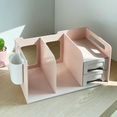 1단 미니 간이 서랍 책상책꽂이 3color