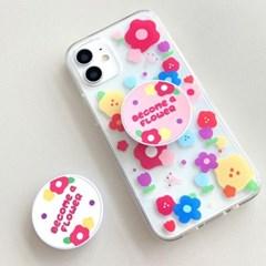[그립톡+젤리케이스 무지개꽃]아이폰8 하드케이스 갤럭시케이스 s20F