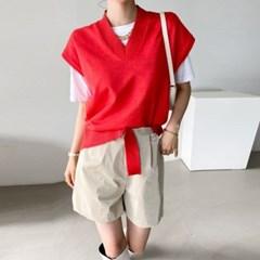 여름 루즈핏 V넥 캡소매 밑단매듭 끈 슬릿 니트 조끼