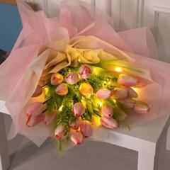 LED차밍튤립꽃다발 75cmP 조화 꽃 선물 축하 FMBBFT