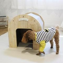 베이메이트 리빙펫 강아지 하우스 원목 강아지집 바닥매트 포함