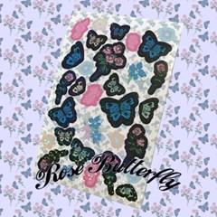 [뮤즈무드] rose butterfly sticker (홀로그램스티커)