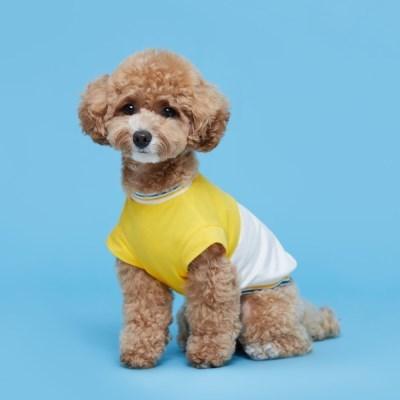 플로트 블록민소매티셔츠 강아지옷 옐로우