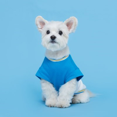 플로트 블록민소매티셔츠 강아지옷 블루