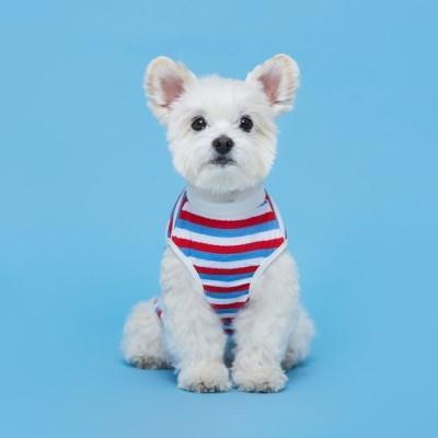 플로트 프레쉬민소매티셔츠 강아지옷 화이트레드