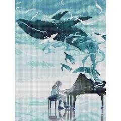 고래와 피아노 (캔버스형) 보석십자수 30x40