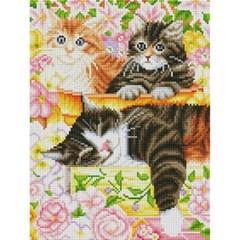 고양이 가족의 오후 (캔버스형) 보석십자수 30x40