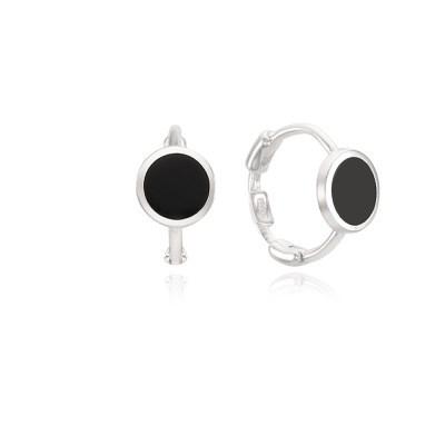 라운드 오닉스 스터링실버 925 원터치 귀걸이 OTE121505OSB