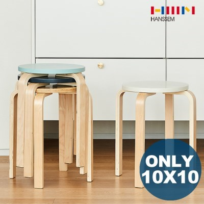 [10x10 단독][한샘] NEW 마리4 라운드 스툴 원목의자 1+_(1155704)