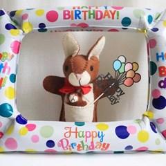 레인보우 풍선 생일케이크 토퍼 생일축하해 토퍼