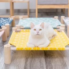 고양이 사각 원목 해먹 옐로우