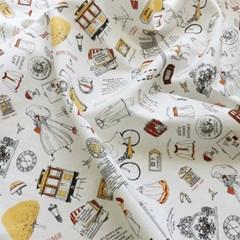 [Fabric] 소녀의 낭만여행 일러스트 패턴 전장 린넨