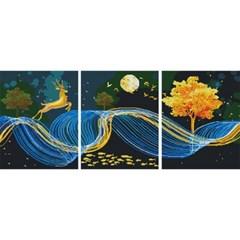 황금사슴 노래 (3단세트)(캔버스형) 보석십자수 40x50