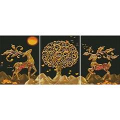 재물 황금사슴 (3단세트)(캔버스형) 보석십자수 40x50