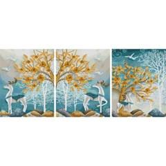 돈나무 흰사슴 (3단세트)(캔버스형) 보석십자수 40x50