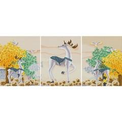 흰사슴 풍경 (3단세트)(캔버스형) 보석십자수 40x50