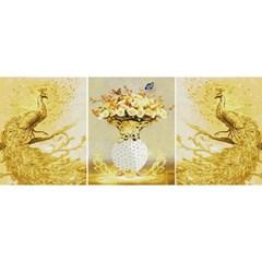 황금공작 (3단세트) (캔버스형) 보석십자수 40x50