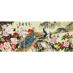 꽃과 공작 (3단세트)(캔버스형) 보석십자수 40x50