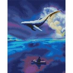 하늘을 나는 고래 (캔버스형) 보석십자수 40x50