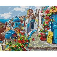 산토리니의 봄 (캔버스형) 보석십자수 40x50