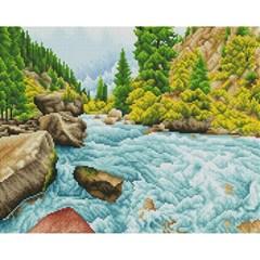 숲속의 계곡 (캔버스형) 보석십자수 40x50