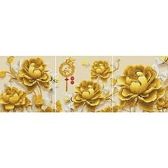 황금 목단금화 (3단세트)(캔버스형) 보석십자수 50x50
