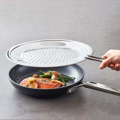 [한샘] 스테인리스 후라이팬 덮개 - 기름튐 튀김 방지망 막이