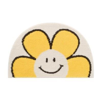 써니플라워 반원형 옐로우 발매트-39x63