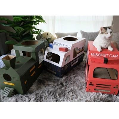 고양이 스크래쳐 버스 박스