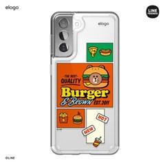엘라고 라인프렌즈 버거타임 갤럭시S21 케이스-브라운
