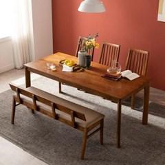 잉글랜더 모레아 원목 6인용 식탁세트(벤치1+의자3)