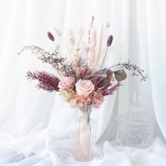 피치 프리저브드플라워 장미 화병꽂이 꽃다발 (M)