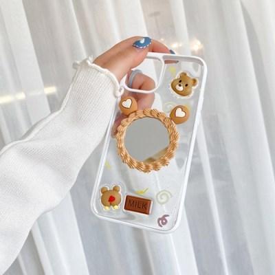 밀크브라운 베어투명 거울 스마트폰케이스