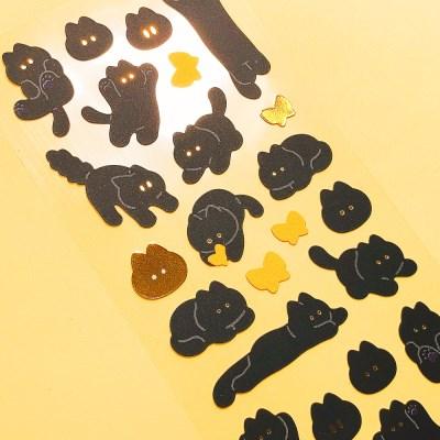 반짝반짝 검은 꼬앵 칼선 스티커