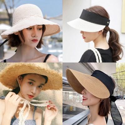 여성 라피아 명품 썬캡 챙넓은 벙거지 등산 모자