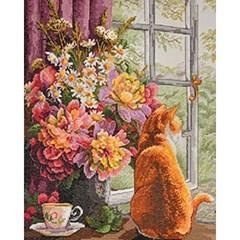 고양이의 오후 (패브릭형) 보석십자수 40x50
