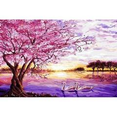 석양이 물든 호수 (패브릭형) 보석십자수 40x60