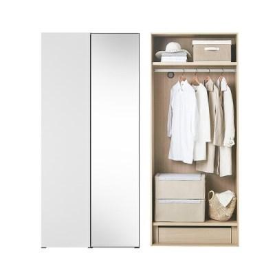 바이엘 채널 거울옷장 화이트 90cm(높이216cm) 행거형 B타입